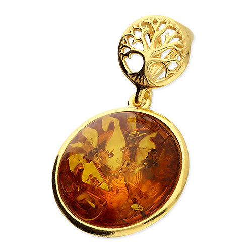 Gold Amber Tree of Life Pendant Necklace