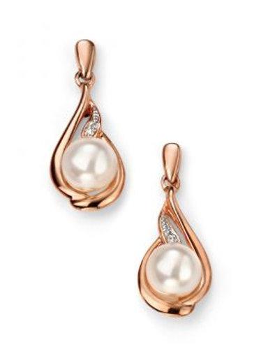 9ct Rose Gold Pearl & Diamond Drop Earrings