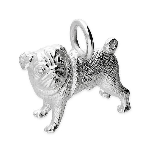 Sterling Silver Pendant Pug dog