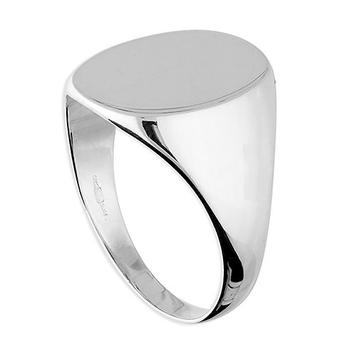Silver Oval Men's Signet Ring