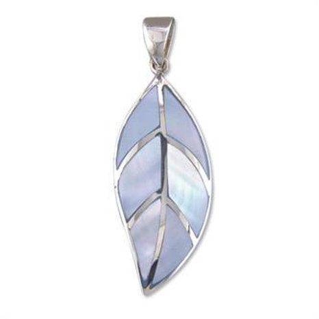 Silver Blue Mother of Pearl Leaf Necklace Pendant