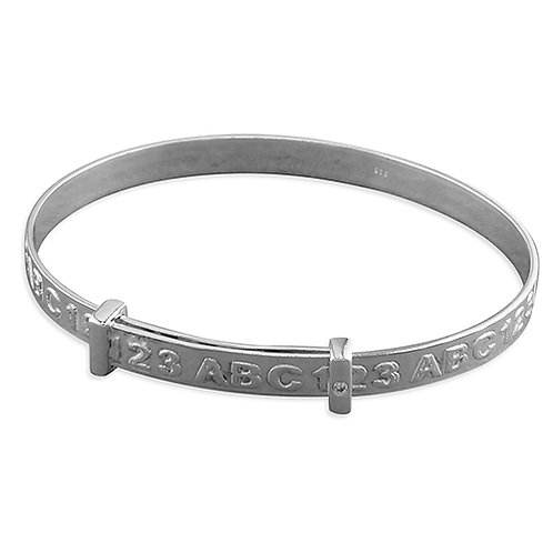 Childs / Baby ABC Silver Expanding Bangle