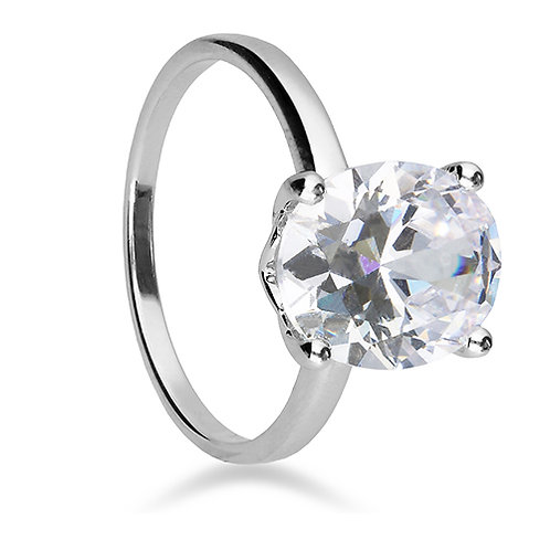 Silver Oval Cut Cubic Zirconia Ring