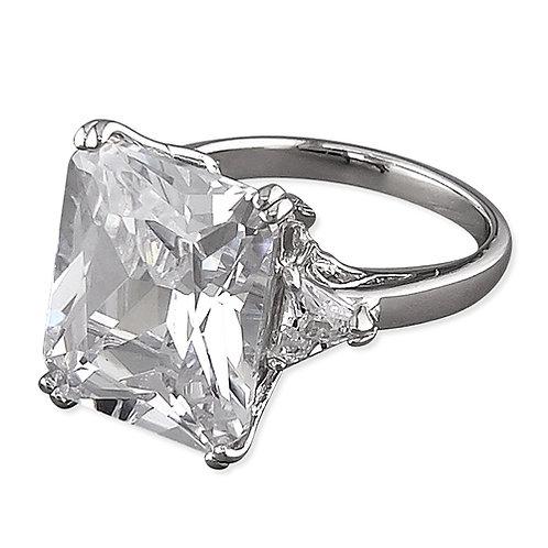 Silver Emerald & Trillion Cut Cubic Zirconia Ring