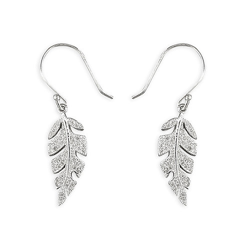 Silver Cubic Zirconia Leaf Drop Earrings