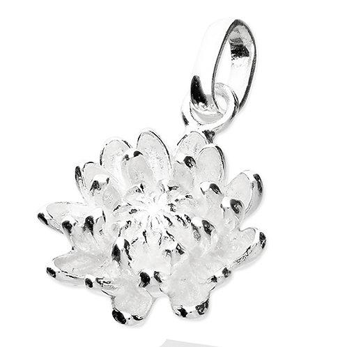 November Birthday Chrysanthemum Flower Pendant Necklace