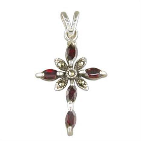 Silver Garnet Fancy Cross Pendant