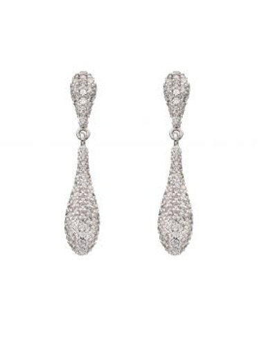 Silver CZ Pave Droplet Earrings