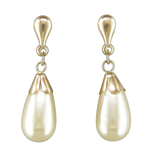 9ct gold & simulated pearl drops