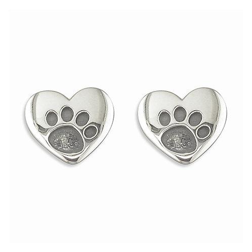 Silver Heart Paw Print Stud Earrings