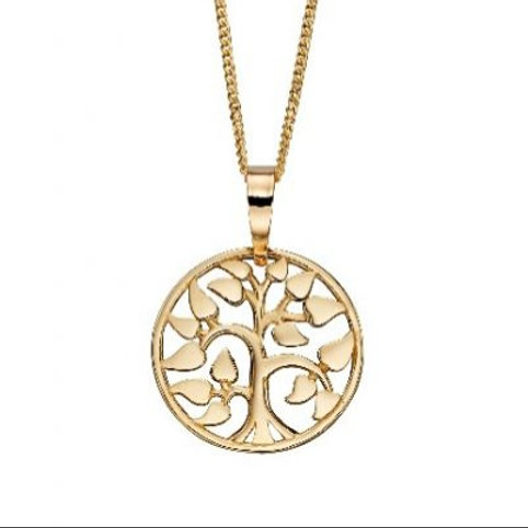 9ct Yellow Gold Tree of Life Pendant Necklace