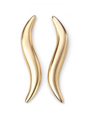 9ct Yellow Gold Wavy Bar Stud Earrings