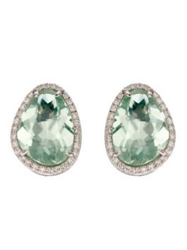 9ct White Gold Green Flourite & Diamond Stud Earrings