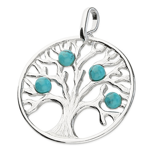 Silver Turquoise Tree of Life Pendant Necklace