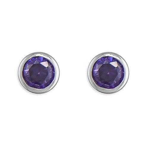 February Birthstone Amethyst CZ Stud Earrings