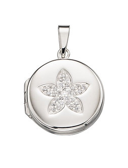 Silver Round CZ Flower Locket