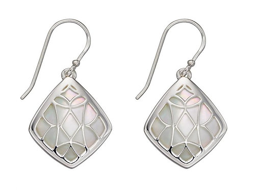 Mother of pearl trellis drop earrings