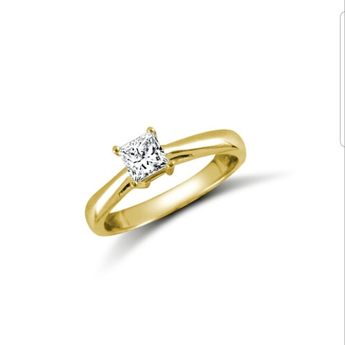 9ct Yellow Gold Princess CZ Solitaire Ring