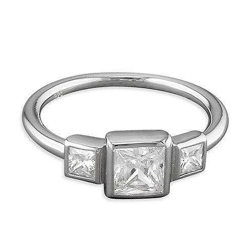 Silver Triple Rubover Princess CZ Ring
