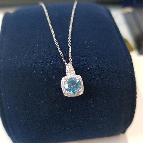 9ct White Gold Blue Topaz 0.60ct & Diamonds 0.06ct Square Cluster Pendant