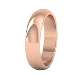 Men's 9ct Rose Gold D Shape Wedding Ring