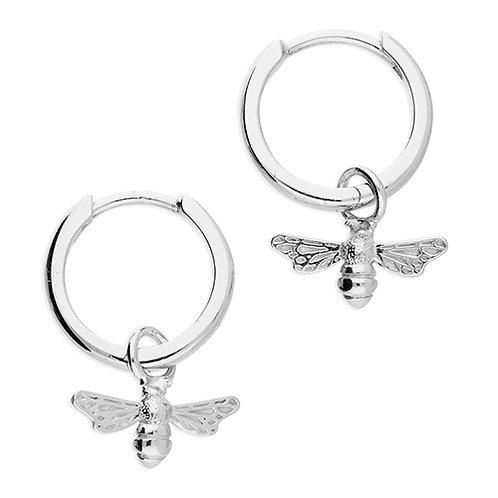 Bee Charm Drop Hoop Earrings