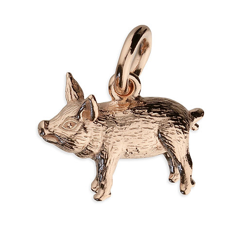 Small rose gold piglet pendant
