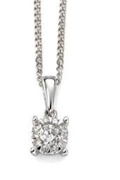 9ct White Gold Diamond Solitaire Pendant Necklace