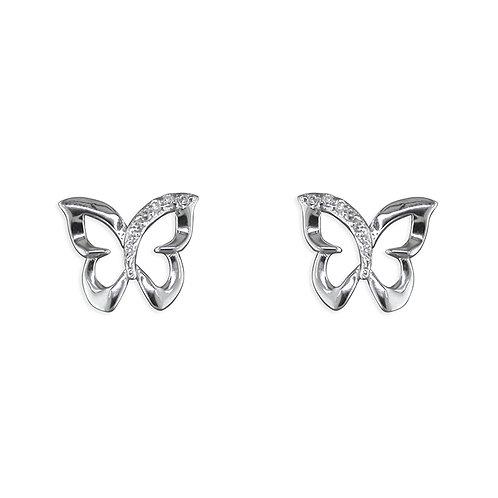 Silver CZ Open Butterfly Stud Earrings