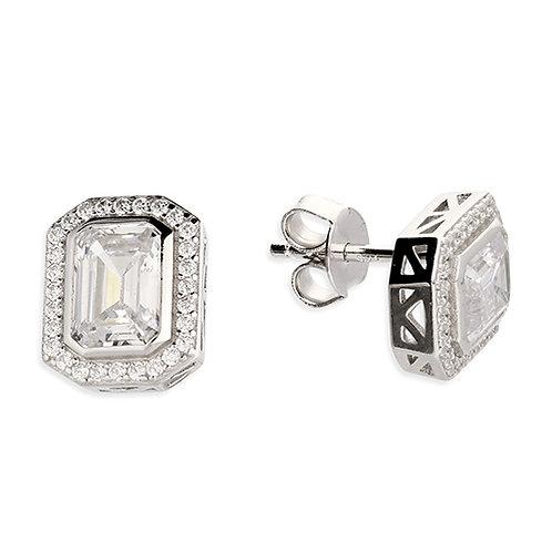 Asscher Cut CZ Halo Stud Earrings