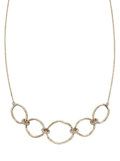 9ct Yellow Gold Hammered Link Diamond Necklace