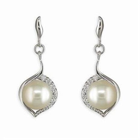 Silver Freshwater Pearl & CZ Teardrop Earrings