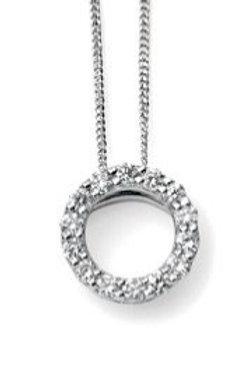 9ct White Gold Diamond Open Circle Necklace
