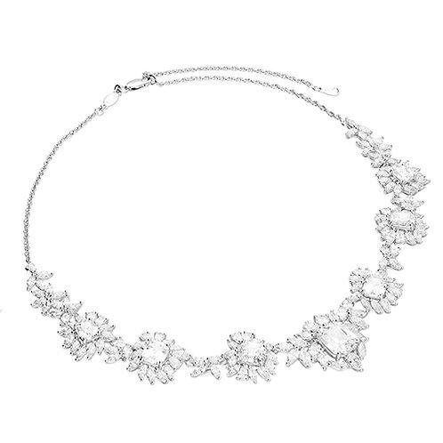 Silver Flower CZ Statement Necklace