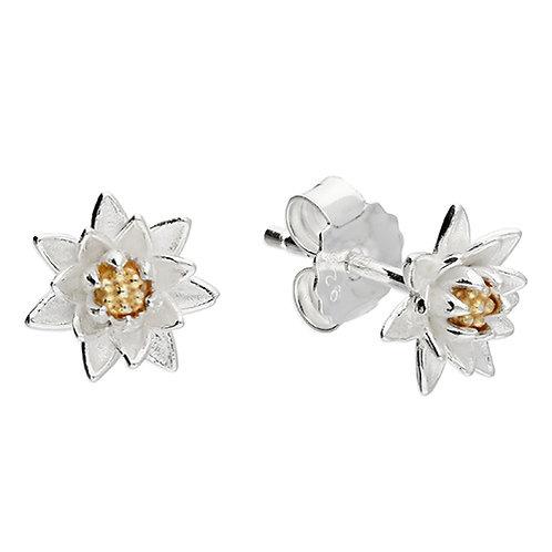 July Birthday Waterlily Flower Stud Earrings