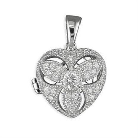 Silver Vintage Heart Cubic Zirconia Locket Necklace