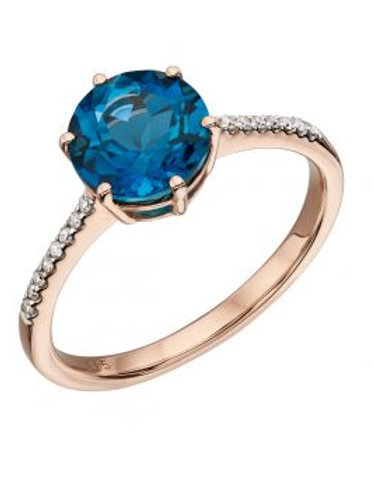 9ct Rose Gold London Blue Topaz Ring