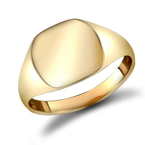 9ct Yellow Gold Plain Cushion Shape Signet Ring