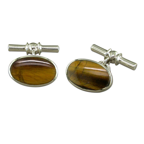 Silver & Tiger's Eye Cufflinks