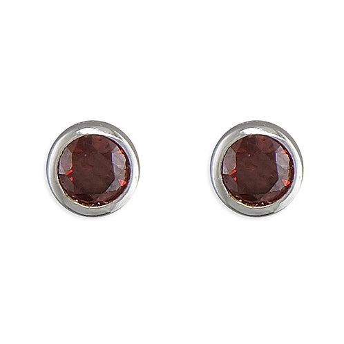 July Birthstone Ruby CZ Stud Earrings