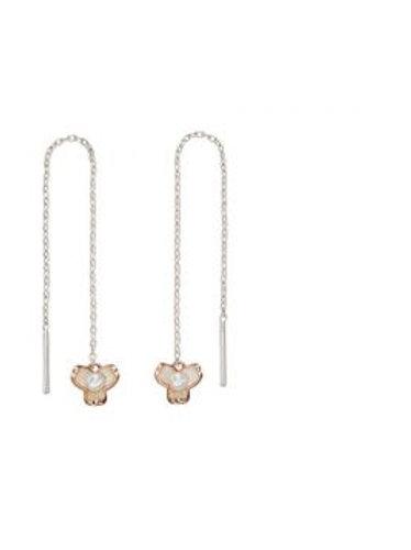 Rose Gold & Silver Pearl Drop Earrings