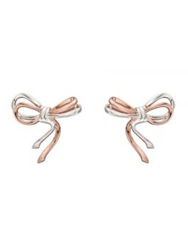 Rose Gold & Silver Bow Stud Earrings