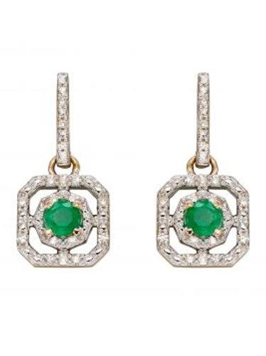 9ct Yellow Gold Deco Emerald & Diamond Earrings