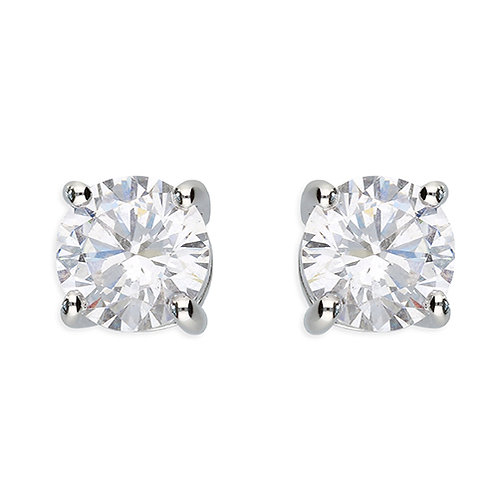 Silver Round Brilliant Cut Cubic Zirconia Stud Earrings