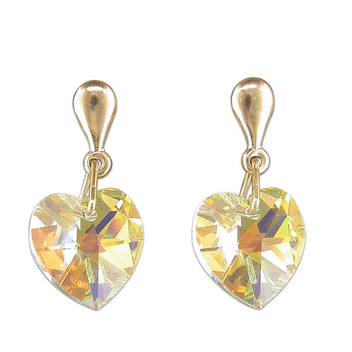 9ct yellow gold with Australian crystal heart earrings