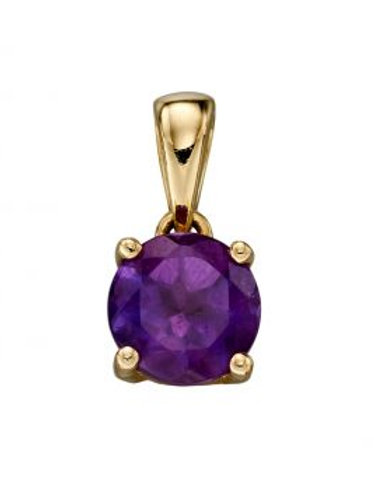 9ct Yellow Gold Amethyst February Birthstone Necklace