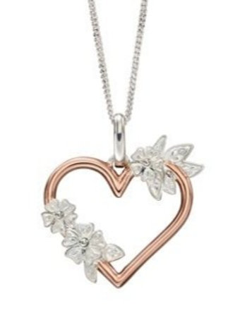 Rose gold plated heart floral cz design necklace