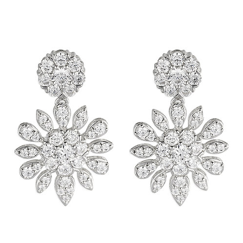 Silver CZ Floral Statement Earrings