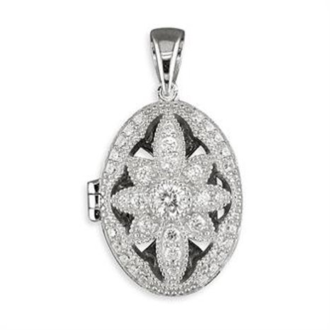 Silver Vintage Cubic Zirconia Locket Necklace