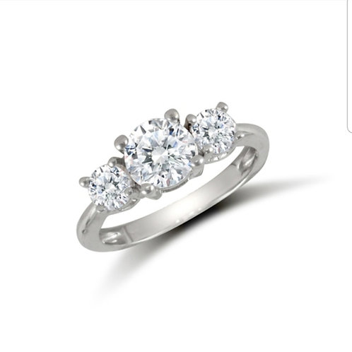 9ct White Gold Trilogy CZ Ring